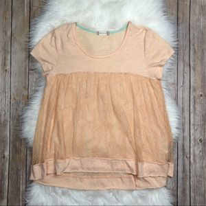 Altar'd State | Peach Lace Short Sleeve Blouse L